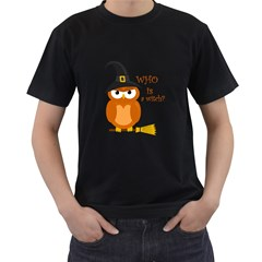 Halloween Orange Witch Owl Men s T Shirt (black) (two Sided)