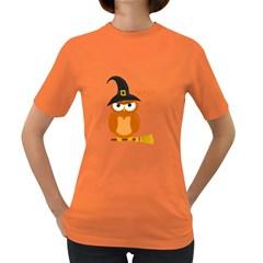 Halloween Orange Witch Owl Women s Dark T Shirt