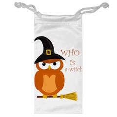 Halloween Orange Witch Owl Jewelry Bag