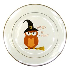 Halloween Orange Witch Owl Porcelain Plates