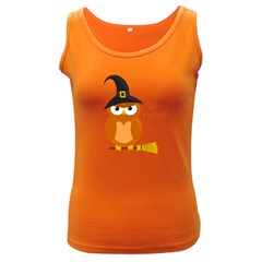 Halloween Orange Witch Owl Women s Dark Tank Top