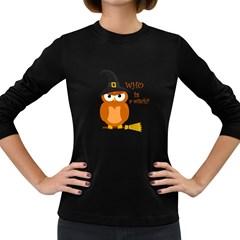 Halloween Orange Witch Owl Women s Long Sleeve Dark T Shirts