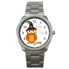 Halloween Orange Witch Owl Sport Metal Watch