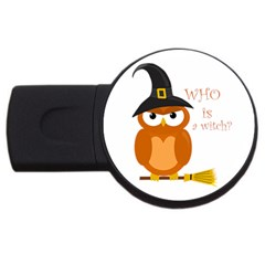 Halloween Orange Witch Owl Usb Flash Drive Round (4 Gb)