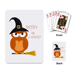 Halloween Orange Witch Owl Playing Card