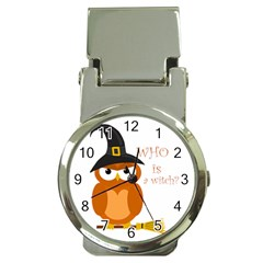 Halloween Orange Witch Owl Money Clip Watches