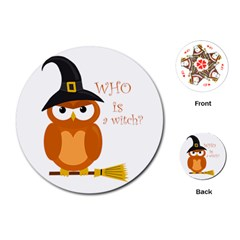 Halloween Orange Witch Owl Playing Cards (round)