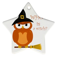 Halloween Orange Witch Owl Star Ornament (two Sides)
