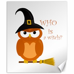 Halloween Orange Witch Owl Canvas 8  X 10