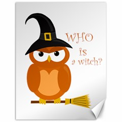 Halloween Orange Witch Owl Canvas 12  X 16
