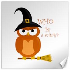 Halloween Orange Witch Owl Canvas 16  X 16