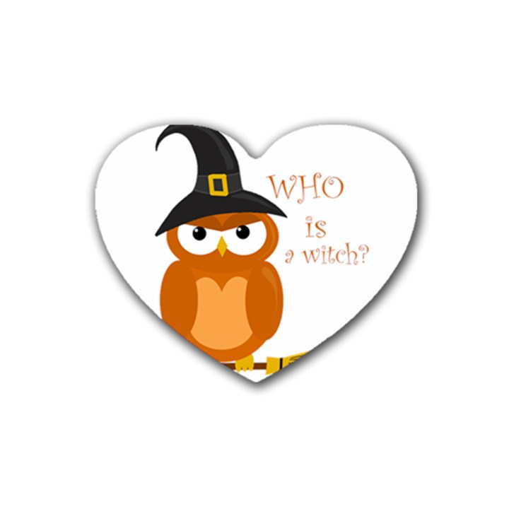 Halloween orange witch owl Rubber Coaster (Heart)