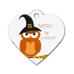 Halloween Orange Witch Owl Dog Tag Heart (one Side)