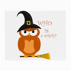 Halloween Orange Witch Owl Small Glasses Cloth (2 Side)