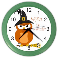 Halloween Orange Witch Owl Color Wall Clocks