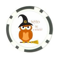 Halloween Orange Witch Owl Poker Chip Card Guard