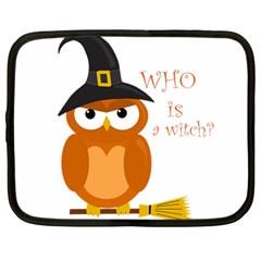 Halloween Orange Witch Owl Netbook Case (large)