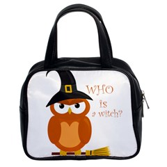 Halloween Orange Witch Owl Classic Handbags (2 Sides)