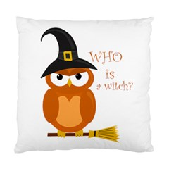 Halloween Orange Witch Owl Standard Cushion Case (two Sides)