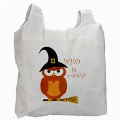 Halloween Orange Witch Owl Recycle Bag (two Side)