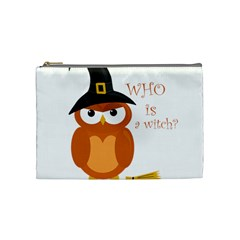 Halloween Orange Witch Owl Cosmetic Bag (medium)