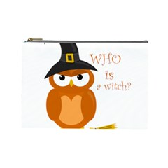 Halloween Orange Witch Owl Cosmetic Bag (large)