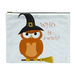 Halloween Orange Witch Owl Cosmetic Bag (xl)