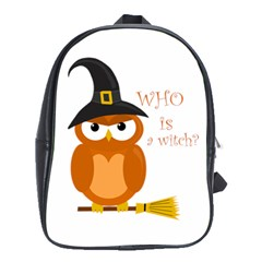 Halloween Orange Witch Owl School Bag (large)