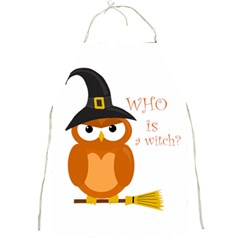 Halloween Orange Witch Owl Full Print Aprons