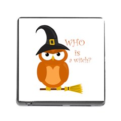 Halloween Orange Witch Owl Memory Card Reader (square)