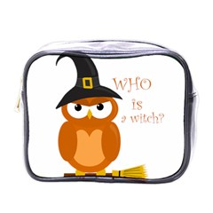 Halloween Orange Witch Owl Mini Toiletries Bags