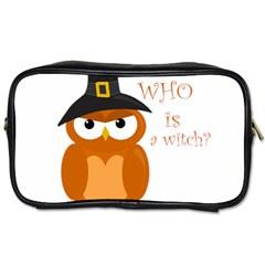 Halloween Orange Witch Owl Toiletries Bags 2 Side