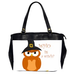 Halloween Orange Witch Owl Office Handbags (2 Sides)