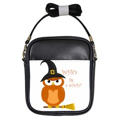 Halloween Orange Witch Owl Girls Sling Bags