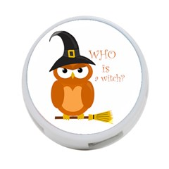 Halloween Orange Witch Owl 4 Port Usb Hub (two Sides)