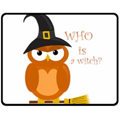 Halloween Orange Witch Owl Fleece Blanket (medium)