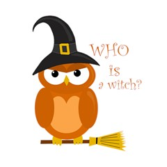 Halloween Orange Witch Owl Magic Photo Cubes