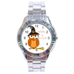 Halloween Orange Witch Owl Stainless Steel Analogue Watch