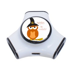 Halloween Orange Witch Owl 3 Port Usb Hub