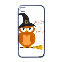 Halloween Orange Witch Owl Apple Iphone 4 Case (black)