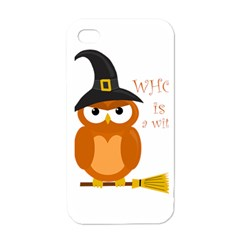 Halloween Orange Witch Owl Apple Iphone 4 Case (white)