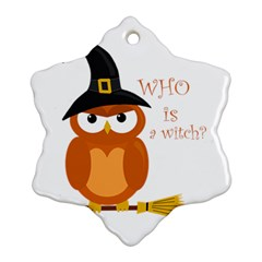Halloween Orange Witch Owl Snowflake Ornament (two Sides)