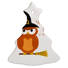 Halloween Orange Witch Owl Christmas Tree Ornament (two Sides)