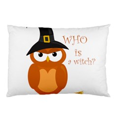 Halloween Orange Witch Owl Pillow Case (two Sides)