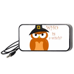 Halloween Orange Witch Owl Portable Speaker (black)