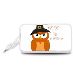 Halloween Orange Witch Owl Portable Speaker (white)