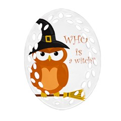 Halloween Orange Witch Owl Oval Filigree Ornament (two Sides)