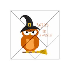 Halloween Orange Witch Owl Acrylic Tangram Puzzle (4  X 4 )