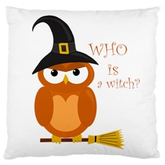 Halloween Orange Witch Owl Large Cushion Case (one Side)