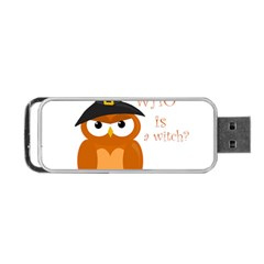 Halloween Orange Witch Owl Portable Usb Flash (two Sides)